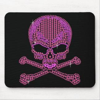 Printed Pink Rhinestone Skull & Crossbones Mouse Mat