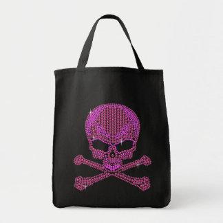 Printed Pink Rhinestone Skull & Crossbones Grocery Tote Bag