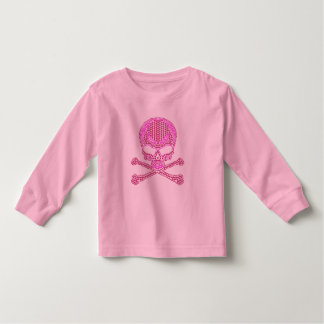 Printed Pink Rhinestone Skull & Crossbones Shirt
