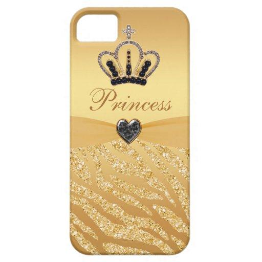 Printed Princess Crown & Zebra Glitter iPhone 5 Case