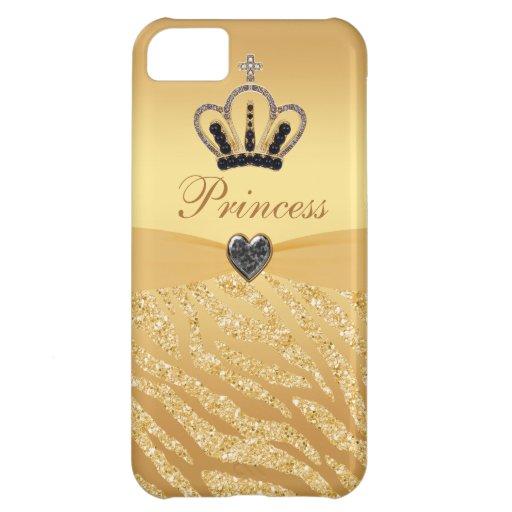 Printed Princess Crown & Zebra Glitter iPhone 5C Covers