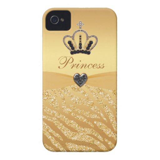 Printed Princess Crown & Zebra Glitter Case-Mate iPhone 4 Case