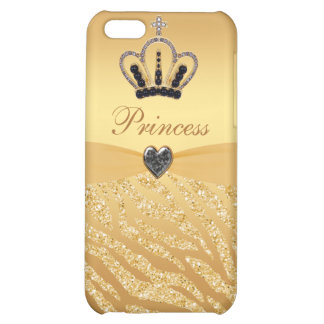 Printed Princess Crown & Zebra Glitter Case For iPhone 5C