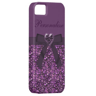 Printed Purple Gem Stones & Heart Jewel Barely There iPhone 5 Case