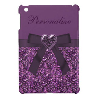 Printed Purple Gem Stones & Heart Jewel Print Cover For The iPad Mini