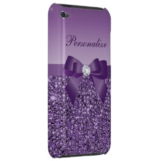 Printed Purple Sequins, Bow & Diamond iPod Touch Cases