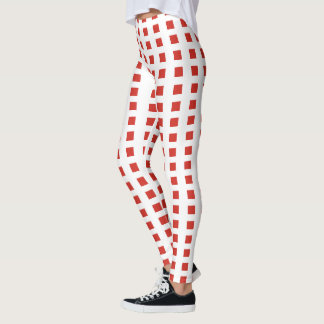 Printed Red And White Checked Leggings