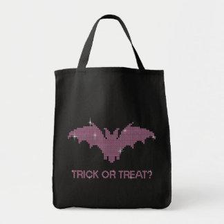 Printed Rhinestone Bat Trick or Treat Grocery Tote Bag