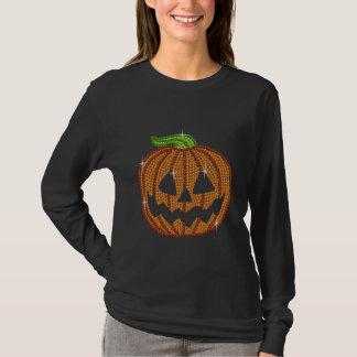 Printed Rhinestone Jackolantern Pumpkin T-Shirt
