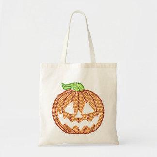 Printed Rhinestone Jackolantern Pumpkin Tote Bag