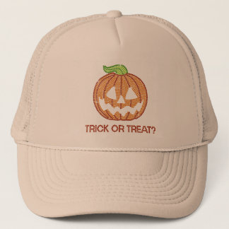 Printed Rhinestone Pumpkin Trick or Treat Trucker Hat
