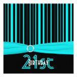 PRINTED RIBBON Aqua and Black Stripe 21st Birthday Personalized Announcements
