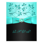 PRINTED RIBBON Aqua, Black Floral II RSVP Card Personalized Invites