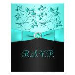 PRINTED RIBBON Aqua, Black Floral RSVP Card Announcement