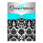 PRINTED RIBBON Aqua Silver Black Quinceanera Custom Invitation
