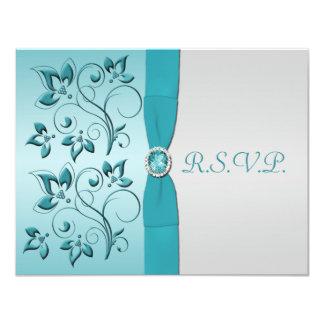 PRINTED RIBBON Aqua, Silver Reply Card 11 Cm X 14 Cm Invitation Card