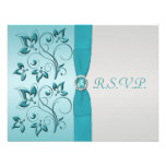PRINTED RIBBON Aqua, Silver Reply Card Personalized Announcements