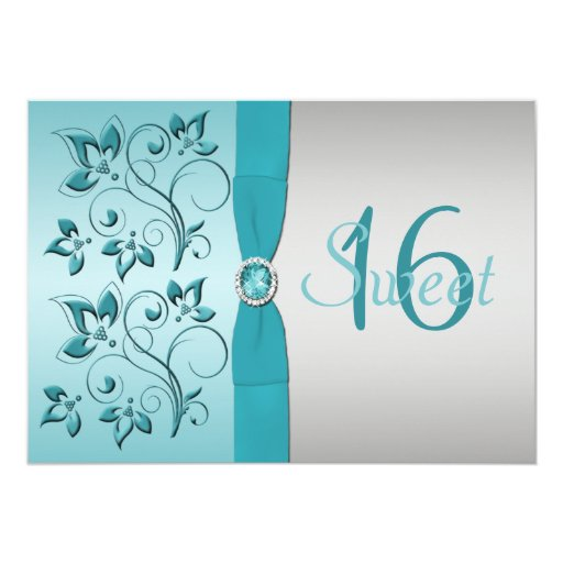 PRINTED RIBBON Aqua, Silver Sweet 16 Party Invite 13 Cm X 18 Cm Invitation Card