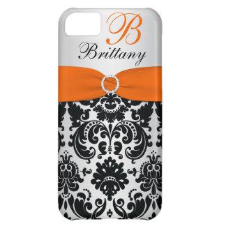 PRINTED RIBBON Black Orange Silver Damask iPhone 5 iPhone 5C Case
