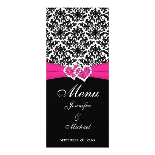 PRINTED RIBBON Black White Pink Wedding Menu Card