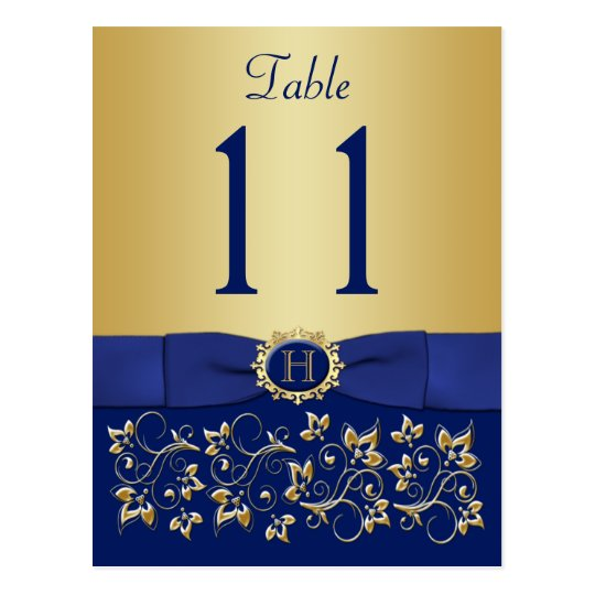 PRINTED RIBBON Blue Gold Table Number Postcard