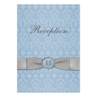 PRINTED RIBBON Blue Gray Damask Enclosure Card Business Cards
