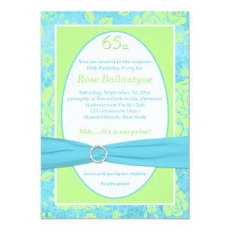 PRINTED RIBBON Blue, Green 65th Birthday Invite