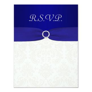 PRINTED RIBBON Blue, Ivory Damask Reply card 11 Cm X 14 Cm Invitation Card