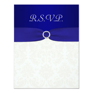 PRINTED RIBBON Blue, Ivory Damask Reply card 11 Cm X 14 Cm Invitation Card