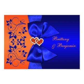 PRINTED RIBBON Blue, Orange Floral Wedding Invite