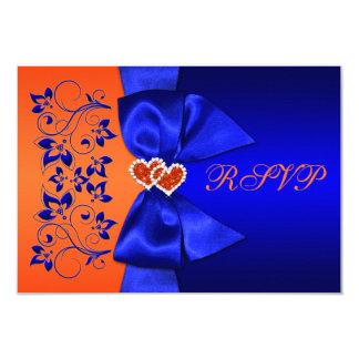 PRINTED RIBBON Blue, Orange Floral Wedding RSVP 9 Cm X 13 Cm Invitation Card