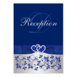 PRINTED RIBBON Blue, Silver Floral Enclosure Card Pack Of Chubby Business Cards