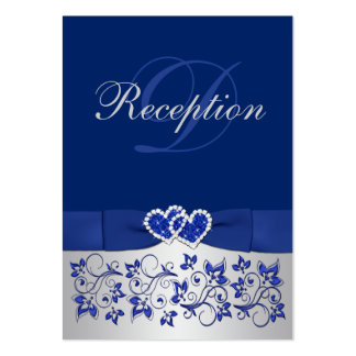 PRINTED RIBBON Blue, Silver Floral Enclosure Card Business Cards