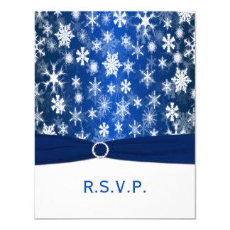 PRINTED RIBBON Blue, White Snowflakes RSVP Card