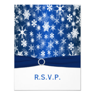 PRINTED RIBBON Blue, White Snowflakes RSVP Card 11 Cm X 14 Cm Invitation Card