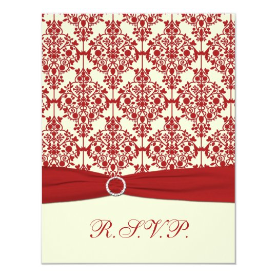 PRINTED RIBBON Cream, Red Damask Reply Card