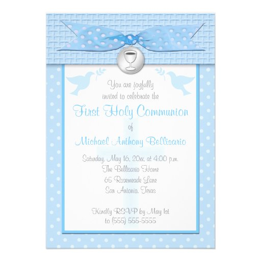 PRINTED RIBBON First Holy Communion Invitation