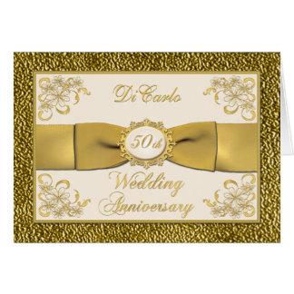 PRINTED RIBBON Floral 50th Anniversary Invitation Greeting Card