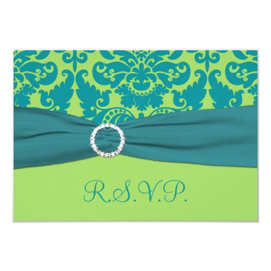 PRINTED RIBBON Green, Turquoise Damask Reply Card