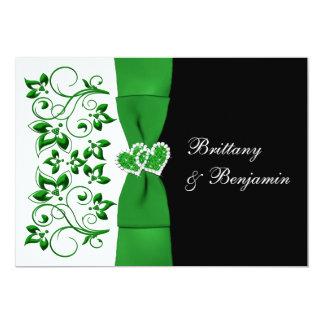 PRINTED RIBBON Green, White, Black Wedding Invite