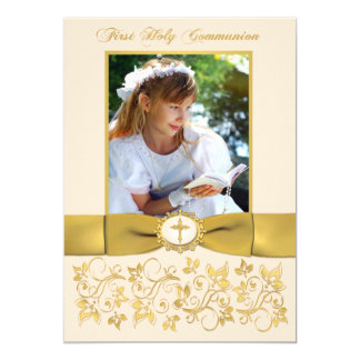 PRINTED RIBBON Holy Communion Photo Thank You Card