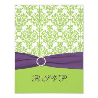 PRINTED RIBBON Lime, Purple Damask Reply Card 11 Cm X 14 Cm Invitation Card