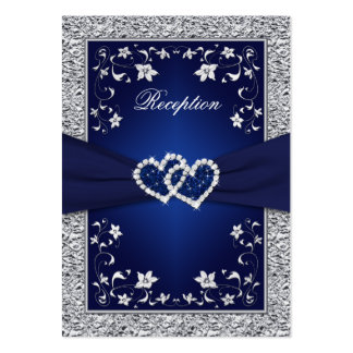 PRINTED RIBBON Navy, Silver Floral Enclosure Card Pack Of Chubby Business Cards