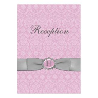 PRINTED RIBBON Pink Gray Damask Enclosure Card Business Cards