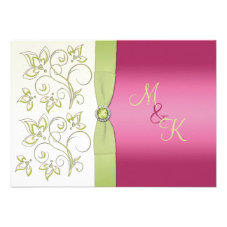 PRINTED RIBBON Pink Green Floral Monogram Invite