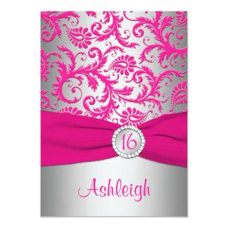 "PRINTED RIBBON Pink, Silver Gray Sweet 16 Invite 5"" X 7"" Invitation Card"