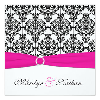 PRINTED RIBBON Pink White Black Damask Wedding 13 Cm X 13 Cm Square Invitation Card