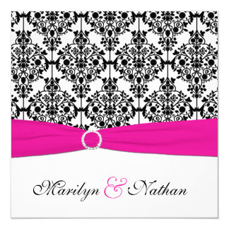 PRINTED RIBBON Pink White Black Damask Wedding 13 Cm X 13 Cm Square Invitation Card