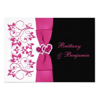 PRINTED RIBBON Pink, White, Black Wedding Invite