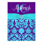 PRINTED RIBBON Purple, Aqua 16th Birthday Invite 2